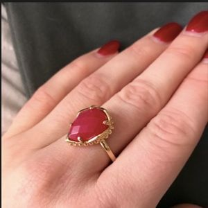 Gold Daisy ring in Bright Red